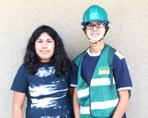 Student authors Alanis Meza and Oscar Escobar at the Disaster Preparedness Drill day