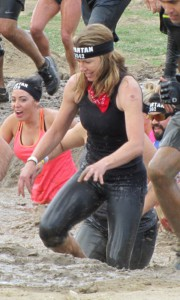 Stepping outside of her comfort zone, DiFrancesco enters the mud pit.