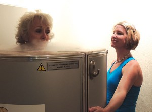Treatments include up to three minutes in the Cryotherapy cylinder