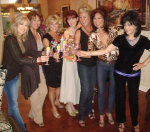 The Golddiggers reunite: Linda Eichberg (Alberici Sisters), Robyn Whatley-Kahn, Patti Pivarnik-Gribow, Marie Halton-Peck, Linda Snook-Peck, Maria Lauren (Alberici Sisters), and Joyce Garro