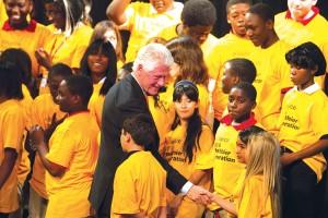 Clinton greets students