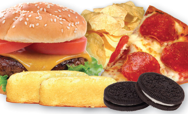 hamburger, cookies, cake, pizza, chips