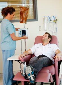 Intravenous infusions can take from 15 minutes up to three hours.